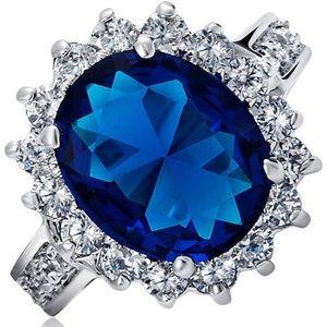 Jewelry - 5CT Blue Zirconia Simulated Sapphire ringNWT